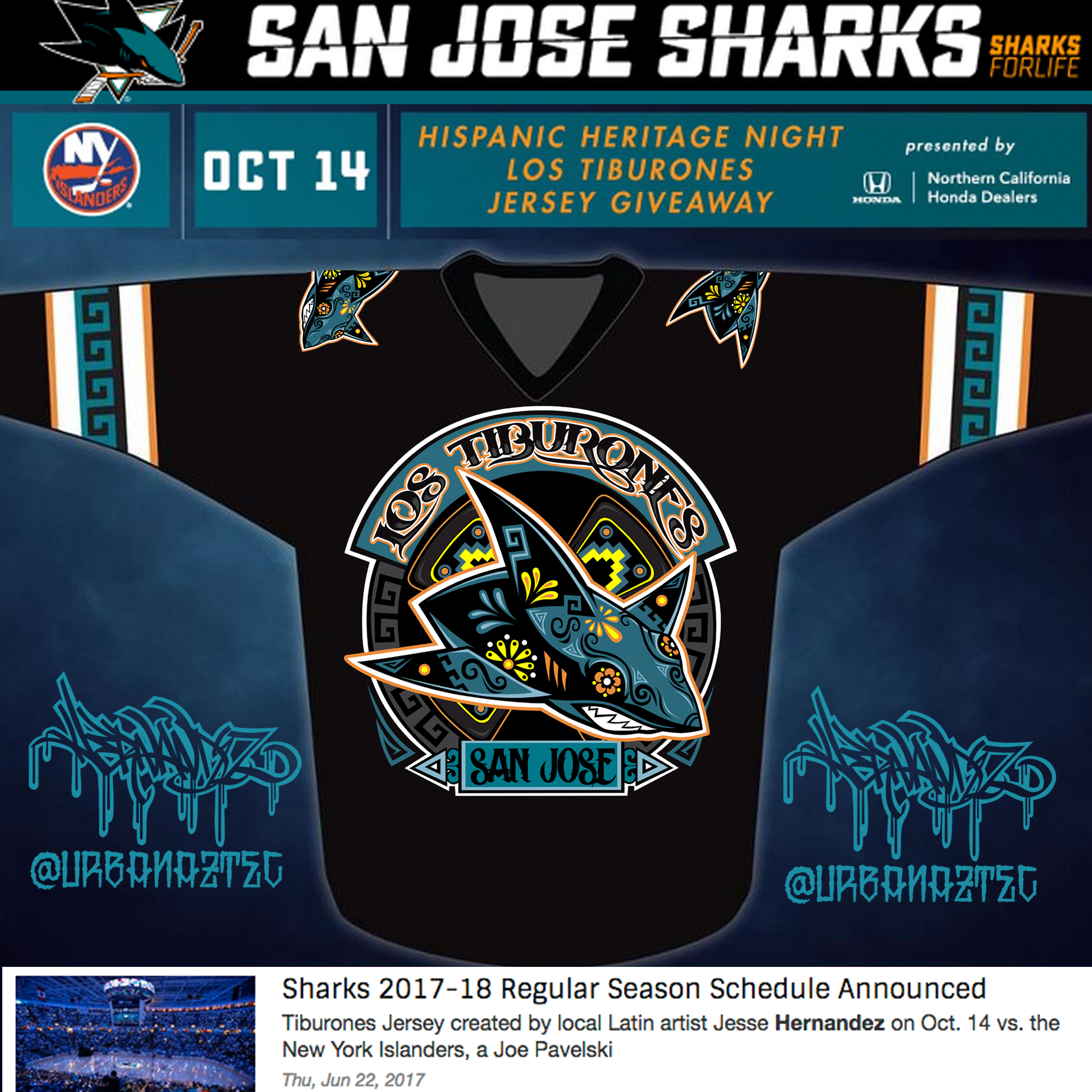 new product 531ee 0194d San Jose Sharks x Jesse Hernandez Los Tiburones Jersey ...